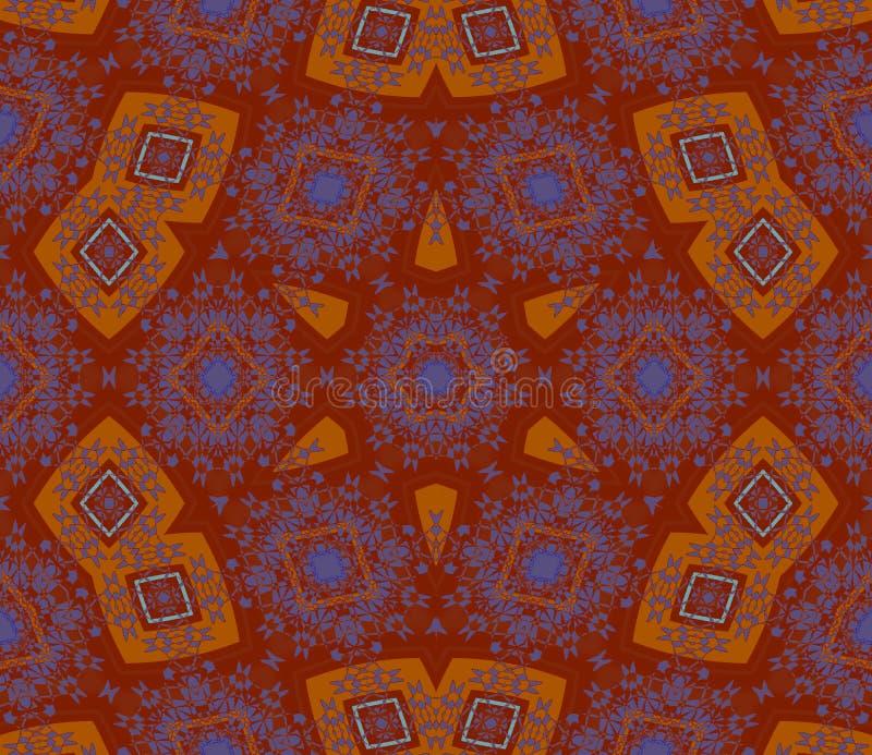 Безшовный коричневый цвет звезды и ромбовидного узора оранжевый фиолетовый бесплатная иллюстрация
