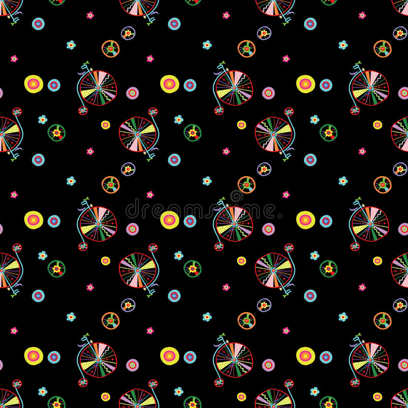 Безшовный красочный милый doodle bicycles иллюстрация вектора скороговорки иллюстрация штока