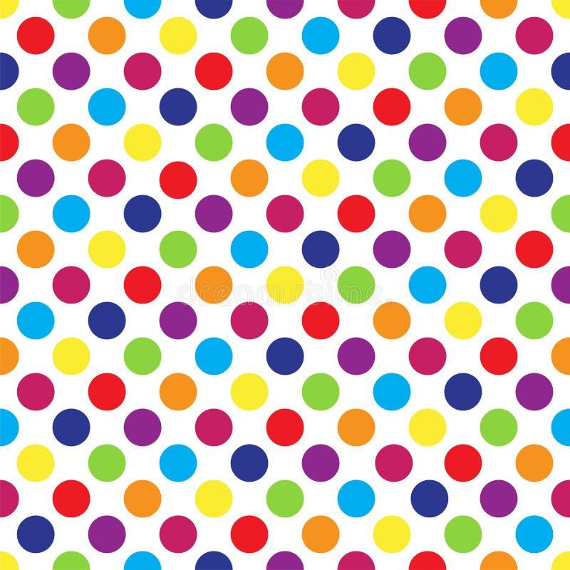 Безшовный красочный точечный растр польки на белизне также вектор иллюстрации притяжки corel бесплатная иллюстрация