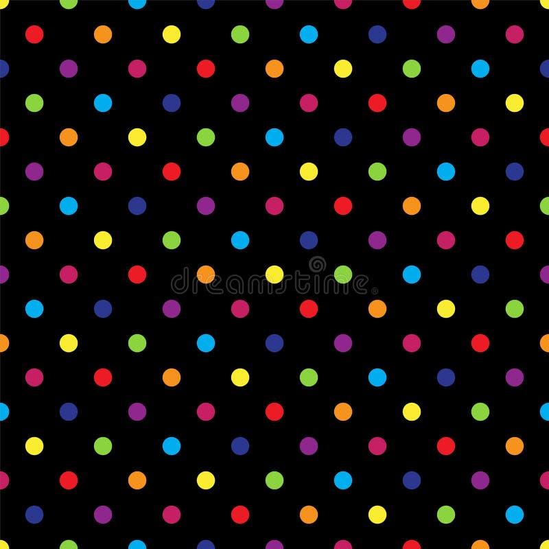 Безшовный красочный точечный растр польки на черноте также вектор иллюстрации притяжки corel иллюстрация штока