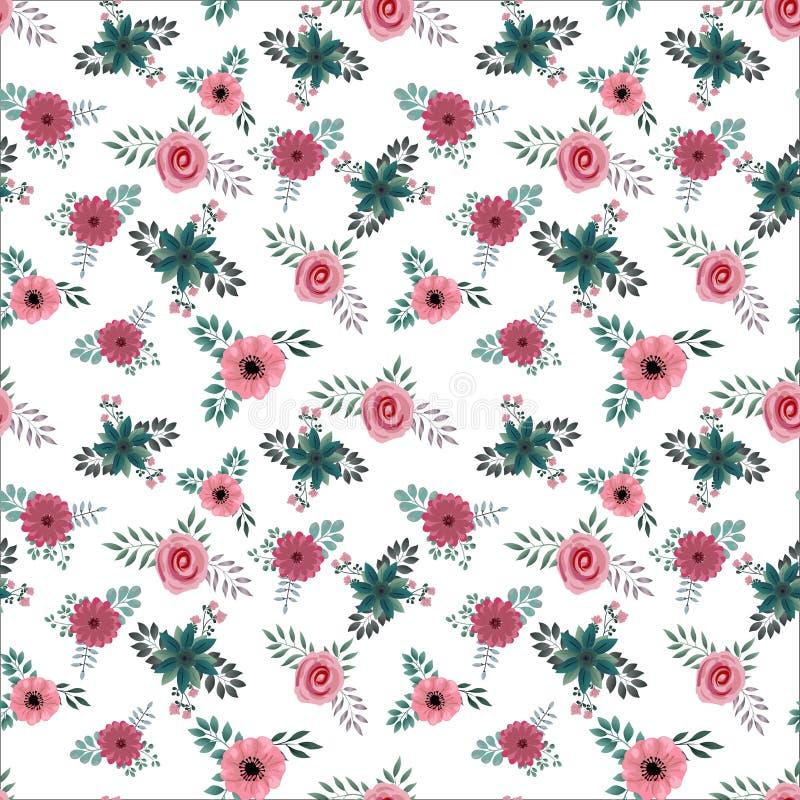 Безшовный малый цветочный узор внутри стоковое изображение