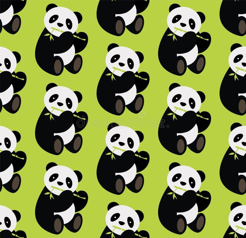 Безшовный медведь панды whith картины держа бамбук также вектор иллюстрации притяжки corel бесплатная иллюстрация