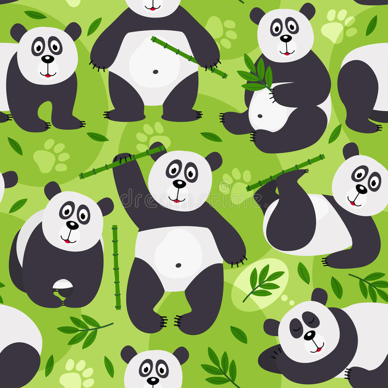 Безшовный медведь панды картины бесплатная иллюстрация