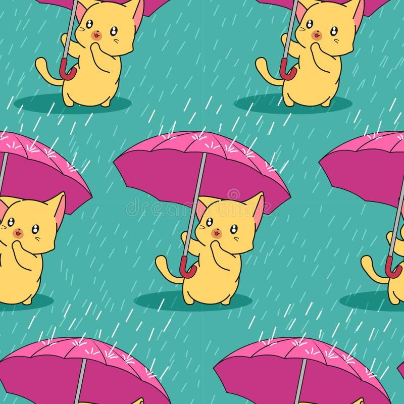 Безшовный милый кот с зонтиком в картине дождливого дня иллюстрация вектора