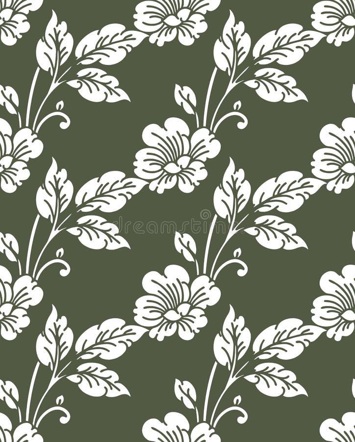 Безшовный милый цветочный узор прованского зеленого цвета иллюстрация штока
