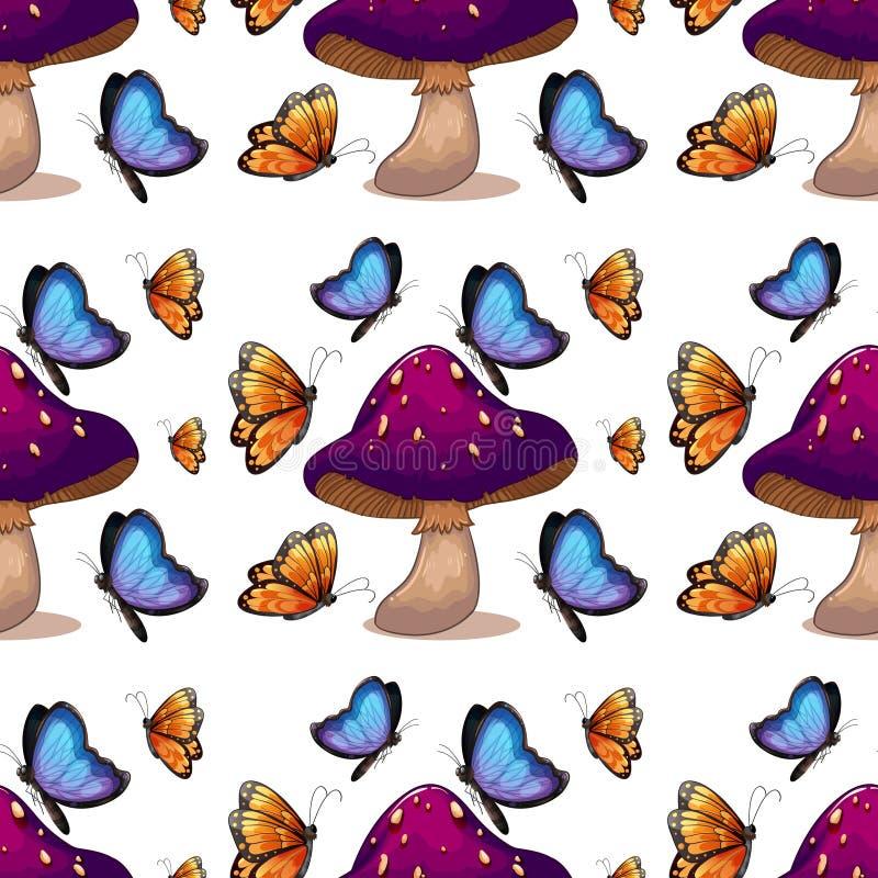 Безшовный мультфильм плитки картины с бабочками и грибом иллюстрация штока