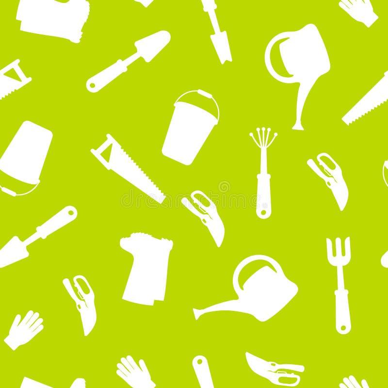 Безшовный набор инструментов для садовничать Садовничая собрание Силуэт значка иллюстрация вектора