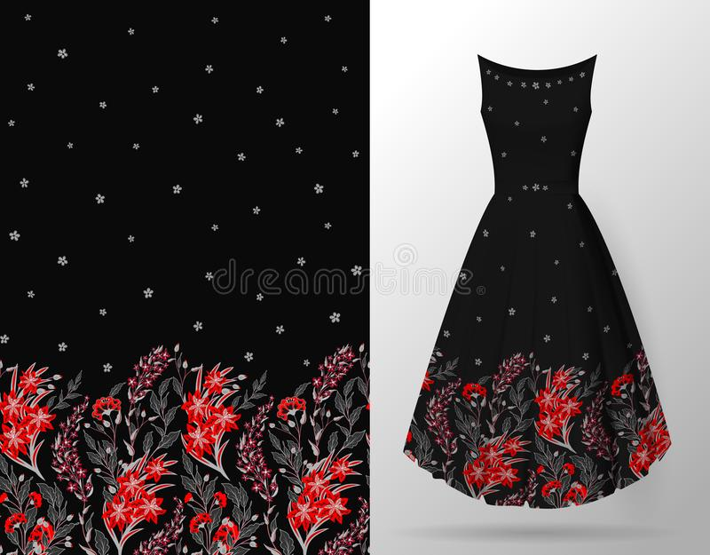 Безшовный нарисованный вручную цветочный узор с сериями заводов и цветков Картина вектора безшовная на насмешке платья лета вверх иллюстрация вектора