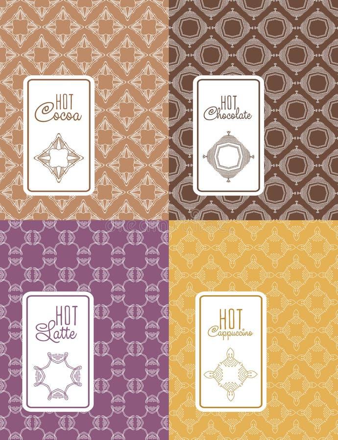 Безшовный логотип с ярлыком для шоколада, latte, капучино, какао иллюстрация вектора