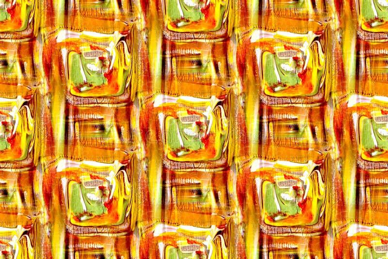 Безшовный оранжевого дизайн красного цвета и зеленого цвета иллюстрация вектора