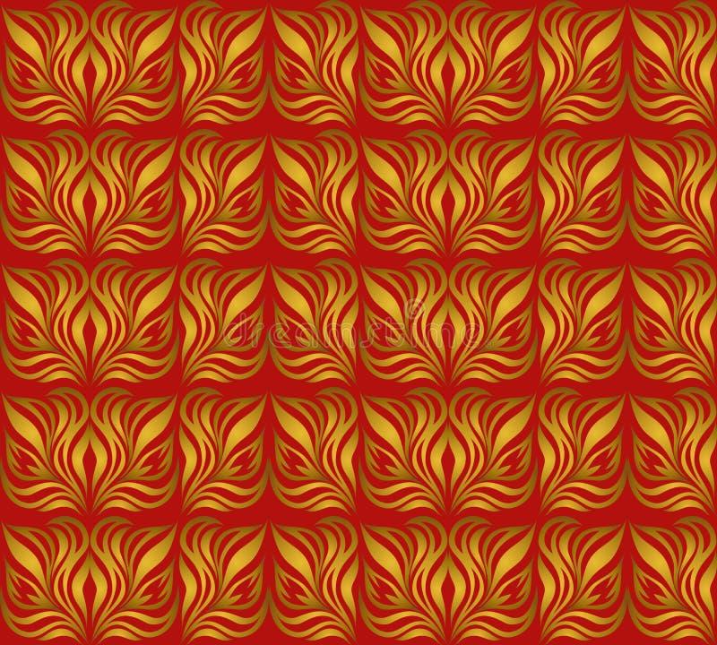 Download Безшовный орнамент с листовым золотом Иллюстрация вектора - иллюстрации насчитывающей часть, культура: 33738456