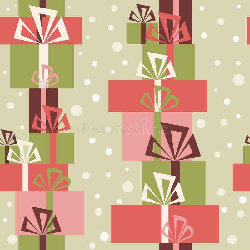 Download Безшовный орнамент с разнообразие подарками и снегом рождества Иллюстрация штока - иллюстрации насчитывающей весело, бумага: 81815322