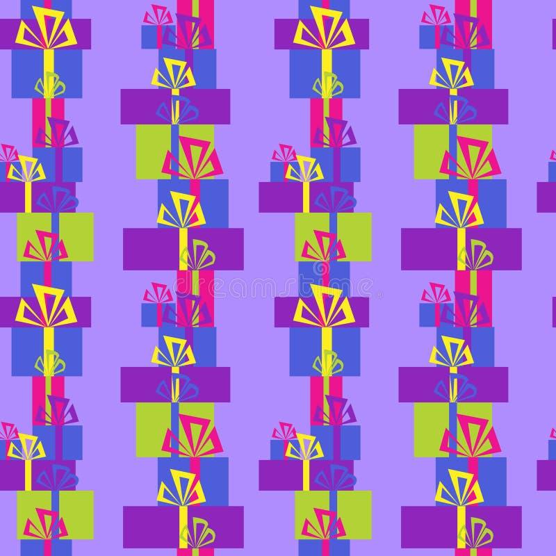 Download Безшовный орнамент с разнообразие праздничными подарками Иллюстрация вектора - иллюстрации насчитывающей торжество, подарки: 81815336