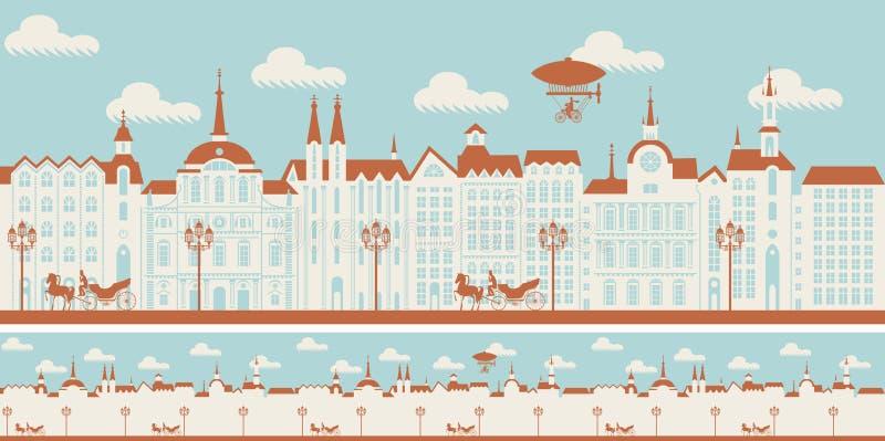 Безшовный орнамент с старым городком в ретро стиле иллюстрация вектора