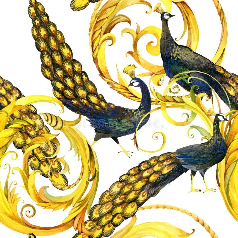 Безшовный павлин роскошная картина скручиваемости золота иллюстрация штока