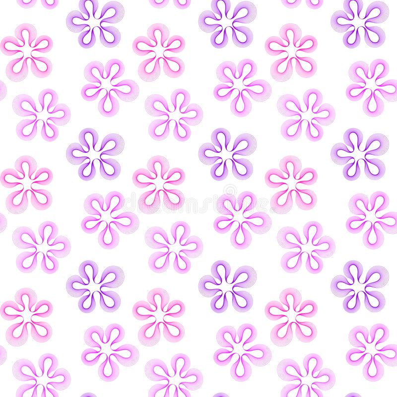 Безшовный пинк и пурпурные цветки иллюстрация штока