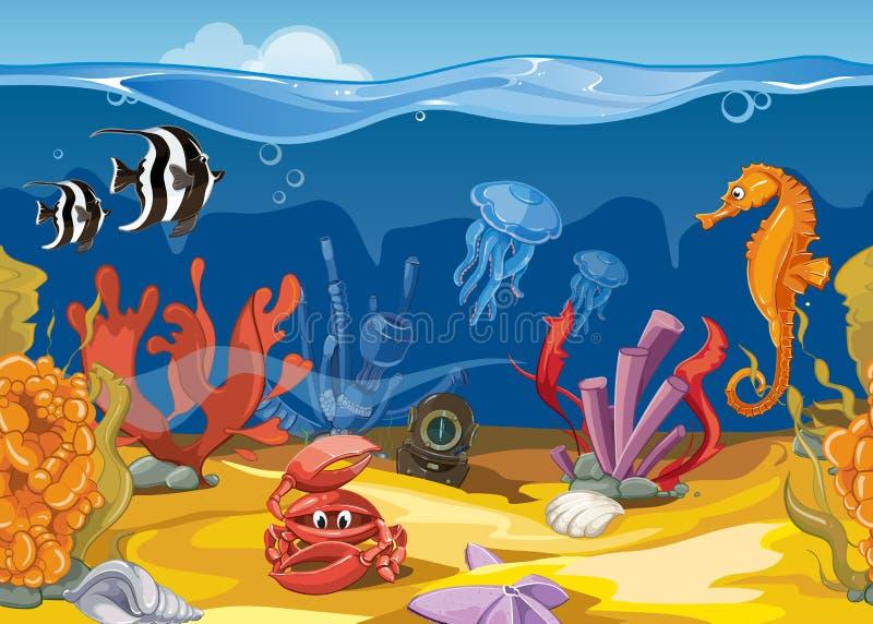 Безшовный подводный ландшафт в стиле шаржа также вектор иллюстрации притяжки corel иллюстрация вектора