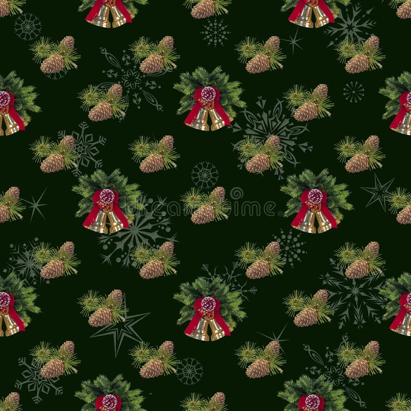 Безшовный, предпосылка Нового Года для украшения праздника Зеленый стоковая фотография rf