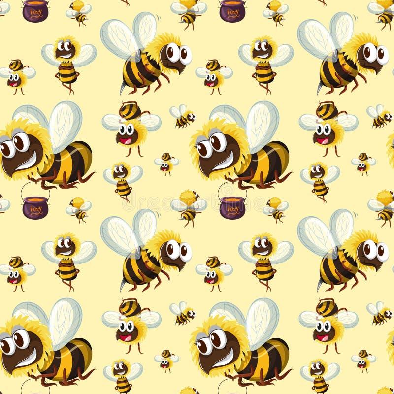 Безшовный путайте картина пчелы иллюстрация вектора