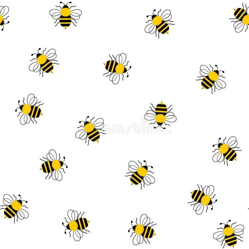 Безшовный путайте пчелы на белизне иллюстрация вектора