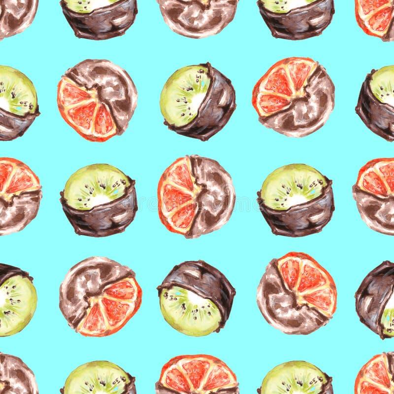Безшовный плодоовощ апельсина и кивиа картины в шоколаде стоковые фото