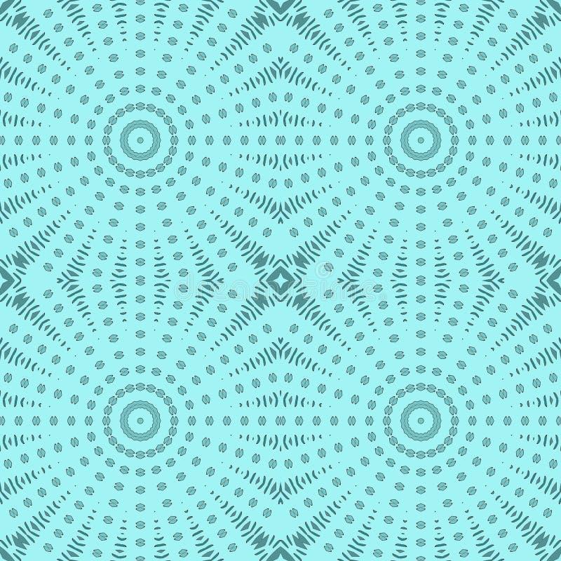 Безшовный регулярн зеленый цвет бирюзы картины кругов иллюстрация вектора