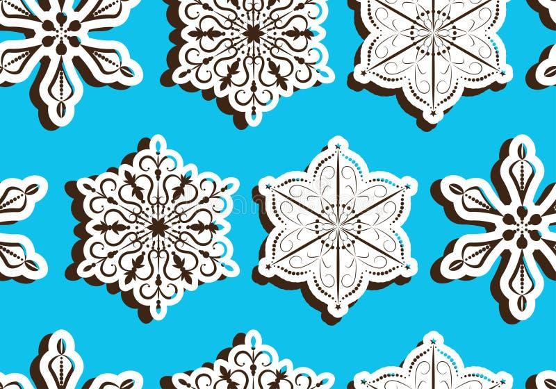 Безшовный свет - голубая картина с трехмерными бумажными снежинками с тенью иллюстрация вектора
