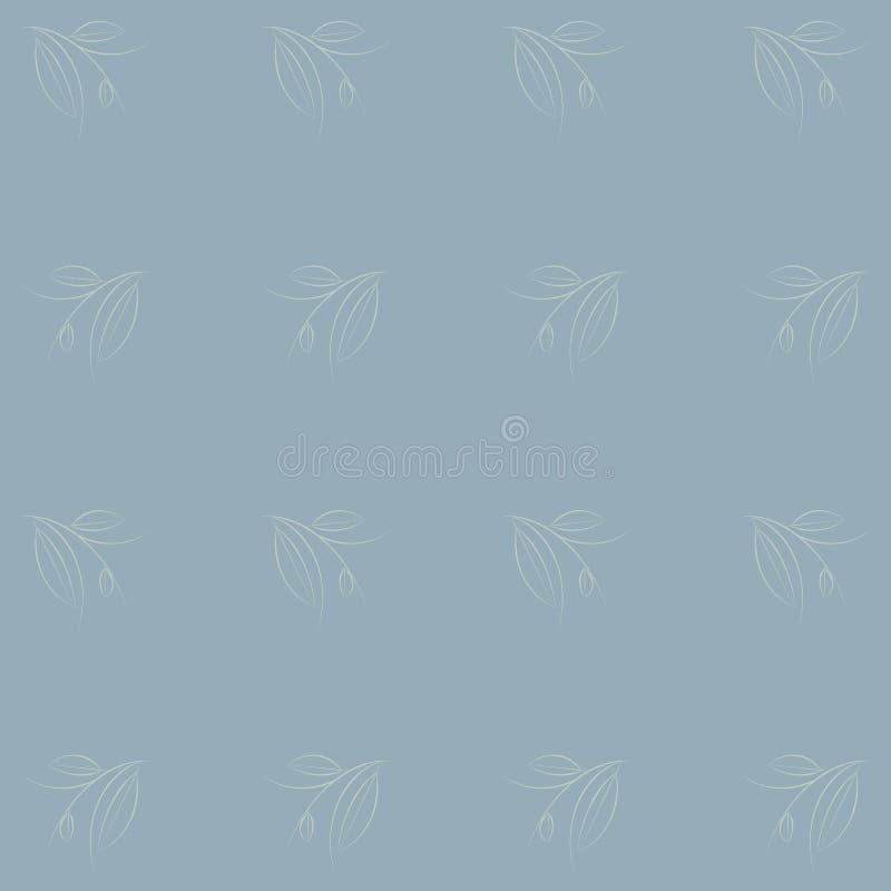 Безшовный свет - голубая предпосылка с цветочным узором Белая ветвь с листьями, тонкая линия, нарисованная рука иллюстрация штока