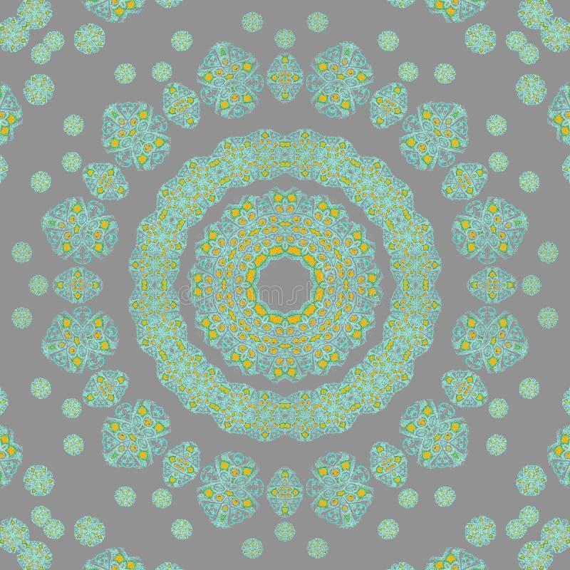 Безшовный серый цвет бирюзы орнамента концентрического круга иллюстрация штока