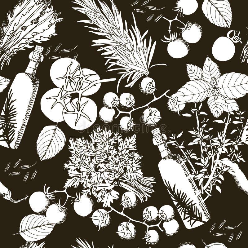 Безшовный стиль чертежа оливкового масла картины и руки томатов иллюстрация вектора
