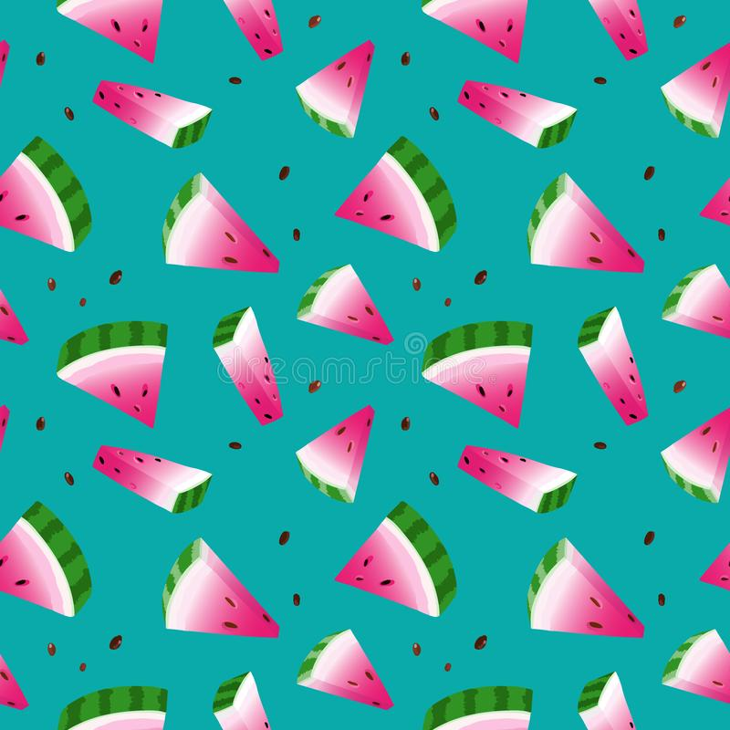 Безшовный с арбузами, зеленой предпосылкой иллюстрация вектора