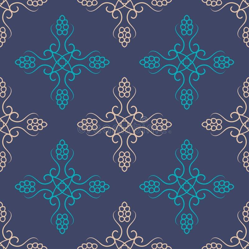 Безшовный с винтажным цветочным узором иллюстрация штока