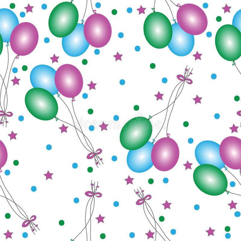 Безшовный с воздушными шарами другого цвета на белой предпосылке бесплатная иллюстрация