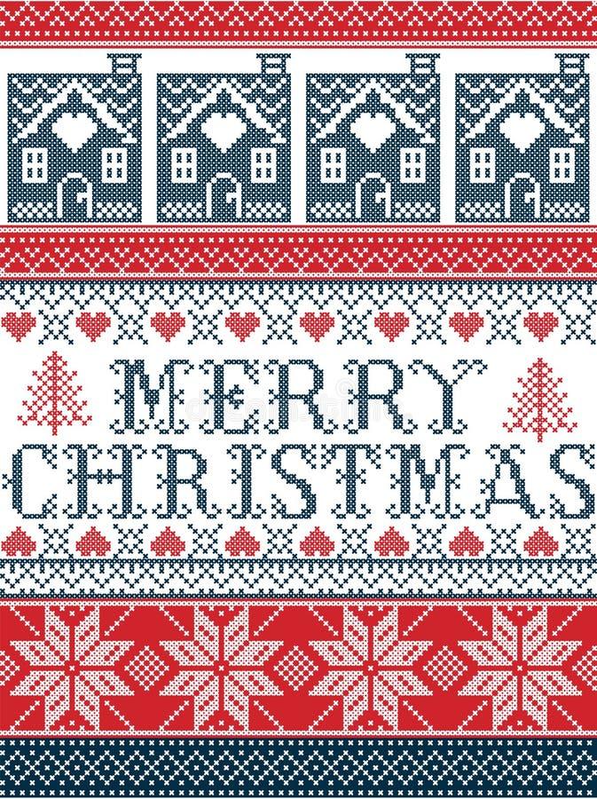 Безшовный с Рождеством Христовым скандинавский стиль ткани, воодушевленный норвежским рождеством, праздничная картина зимы в пере бесплатная иллюстрация