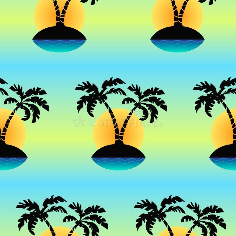Безшовный тропический остров картина вектора ` s ладони иллюстрация штока