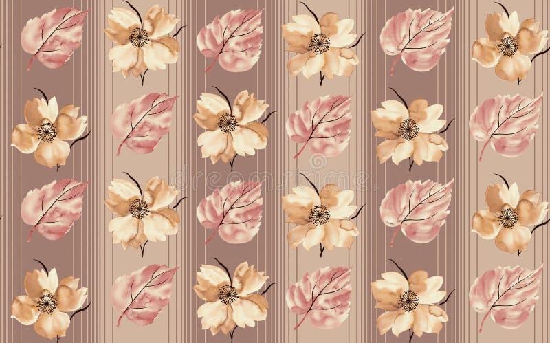 Безшовный флористический цветок выходит картина бесплатная иллюстрация
