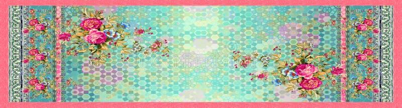Безшовный флористический цветок с цифровой абстрактной предпосылкой иллюстрация вектора