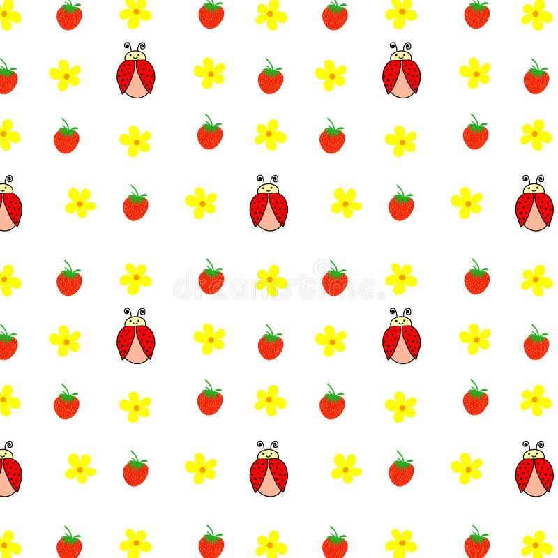 Безшовный флористический ботанический желтый цвет картины на всем зеленый цвет цветков маргариток розовый выходит, печать ткани в иллюстрация вектора