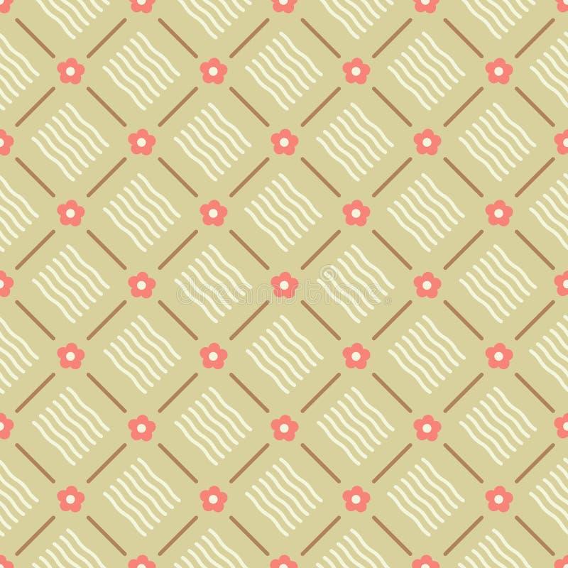 Безшовный флористический геометрический вектор картины с пинком коралла цветет коричневые линии и предпосылка дизайна бежевых вол иллюстрация штока