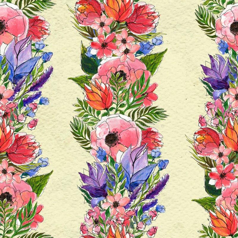 Безшовный цветочный узор акварели бесплатная иллюстрация