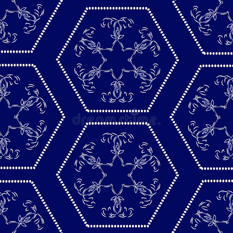 Безшовный цветочный узор геометрических белых форм иллюстрация вектора