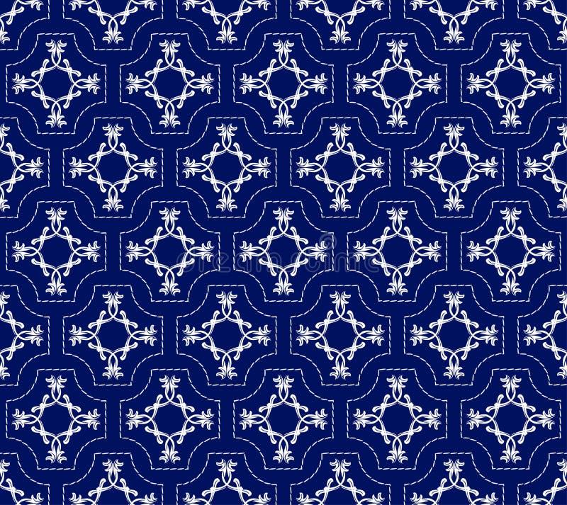 Безшовный цветочный узор геометрических белых форм бесплатная иллюстрация