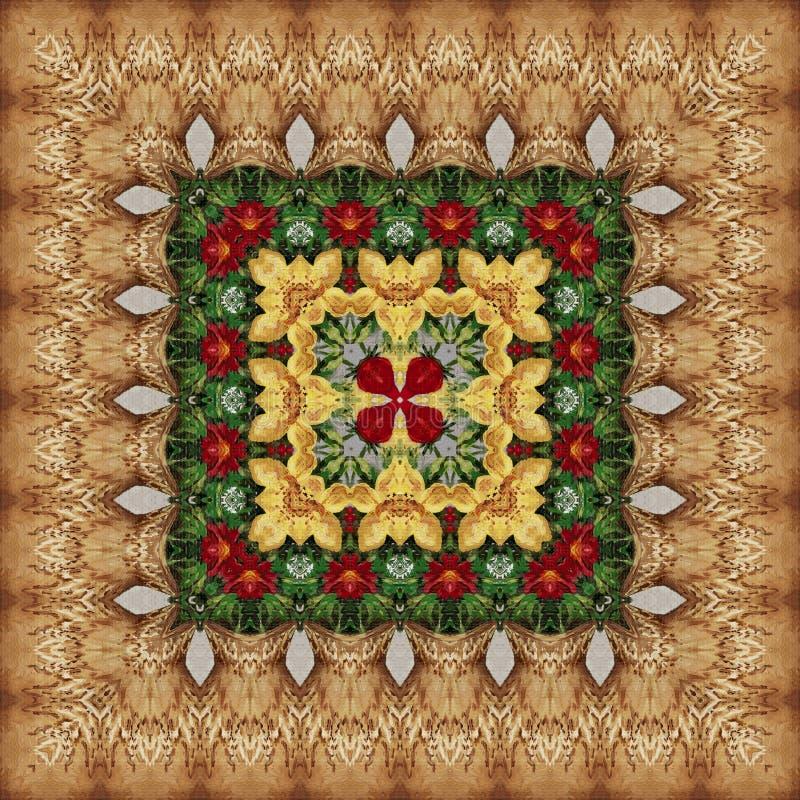 Безшовный цветочный узор, картина маслом иллюстрация вектора