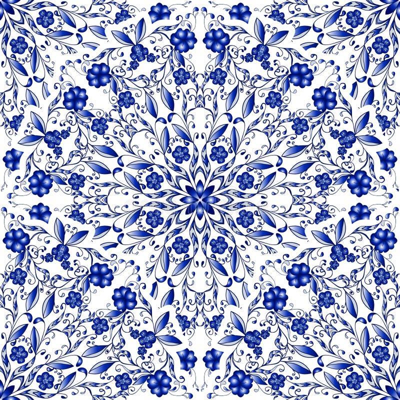 Безшовный цветочный узор круговых орнаментов Свет - голубая предпосылка в стиле китайской росписи на фарфоре иллюстрация вектора