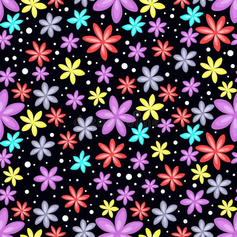 Безшовный цветочный узор на черной предпосылке стоковая фотография