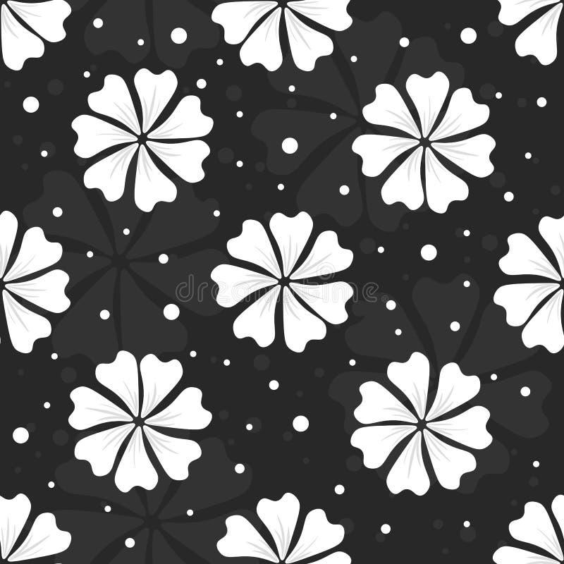 Безшовный цветочный узор с белыми цветками и точками на черной предпосылке стоковое изображение