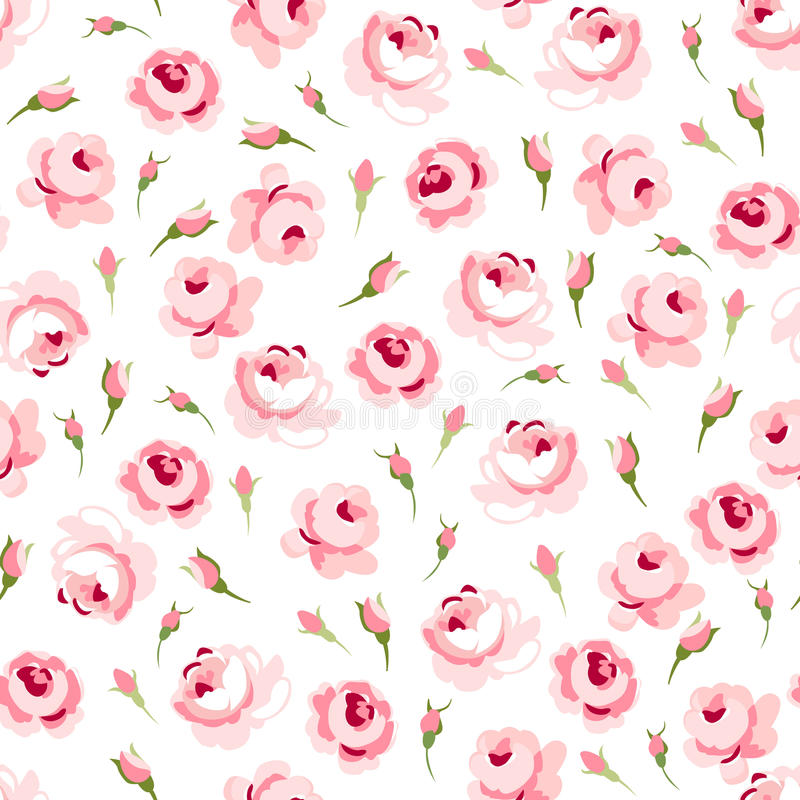 Безшовный цветочный узор с большими и маленькими розовыми розами иллюстрация вектора
