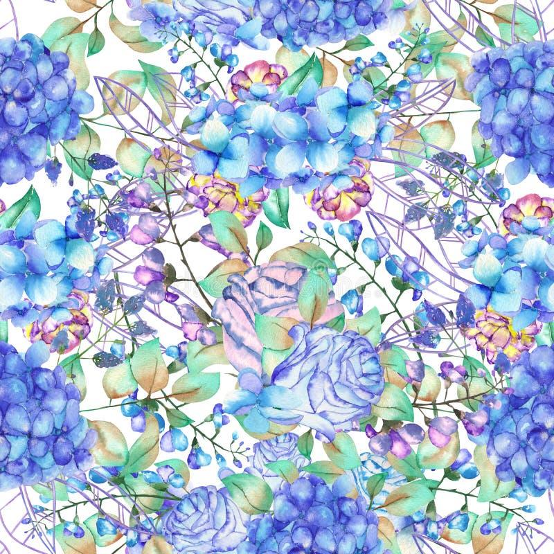 Безшовный цветочный узор с букетами гортензии цветет, голубые розы и листья, покрашенные в акварели на белом backgr иллюстрация вектора