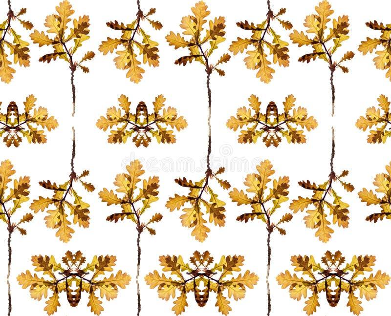 Безшовный цветочный узор с листьями дерева стоковое фото