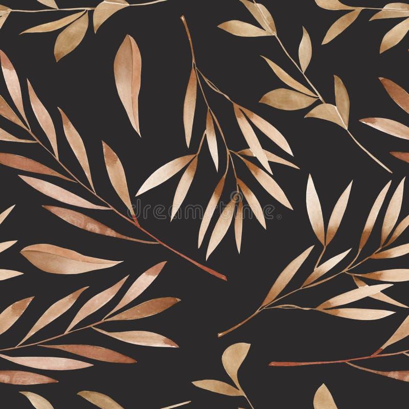 Безшовный цветочный узор с коричневым цветом акварели выходит на ветви бесплатная иллюстрация